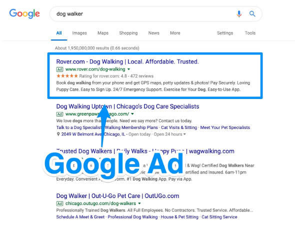 Google Search Ad Placement