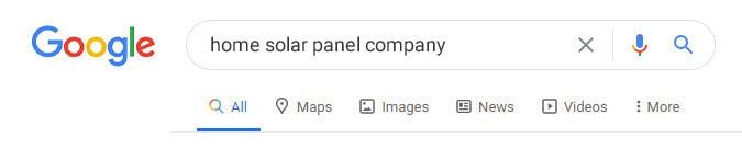 Searching Solar Company On Google