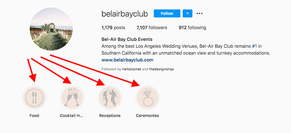 instagram story highlights - best practices for wedding venues
