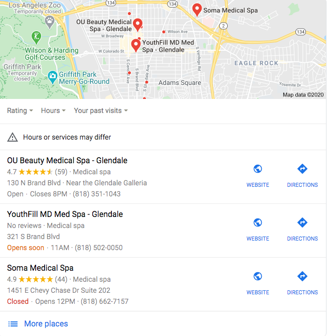 local Google 3 pack - local seo for medical practices